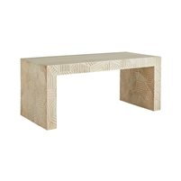 coffee table bench white wash carved wood Parsons