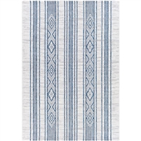 bright blue area rug woven no pile