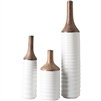 textured vases set of 3 copper white