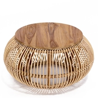 natural rattan teak round coffee table