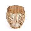 natural rattan teak round accent table