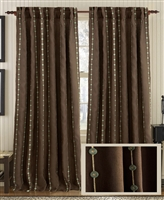 Creative Threads linen curtain drapes dots stripe edition window panels natural