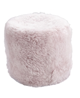 pale pink Icelandic sheepskin pouf fur seat stump ottoman