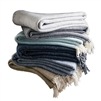 wool cashmere herringbone throw gray tan seafoam navy Evangeline Linens