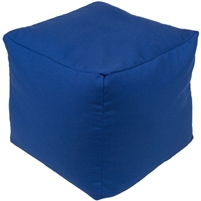 woven dark blue square floor pouf