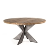 table dining round wood metal iron silver recycled reclaimed rustic contemporary transitional casual