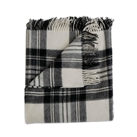 Merino wool throw coal black ivory plaid fringe Evangeline Linens