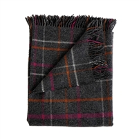 Merino wool throw dark gray plaid bright pink orange white stripes Evangeline Linens