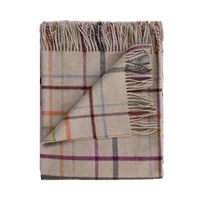 merino wool throw oatmeal tan multi-colored plaid Evangeline Linens