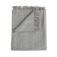 Merino wool throw light gray pinstripes fringe Evangeline Linens