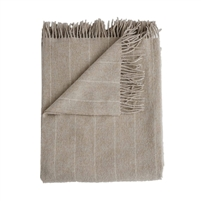 Merino wool throw oatmeal light tan pinstripes fringe Evangeline Linens