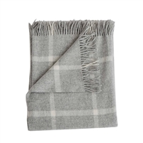 Merino wool throw light gray windowpane squares fringe Evangeline Linens