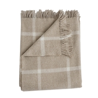 Merino wool throw light tan oatmeal windowpane squares fringe Evangeline Linens