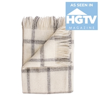 Merino Wool Throw Blanket Adorned with Ivory Gray Windowpane Squares & Fringe By Evangeline Linens