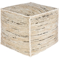 floor pouf square jute cream