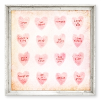 wall art square pink candy hearts