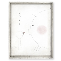 blushing pig tall framed wall art