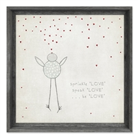 framed wall art message bird hearts LOVE square sprinkle