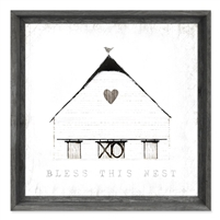 framed wall art message white barn heart bird home bless this nest square