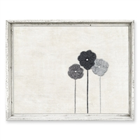framed canvas art three gray flowers