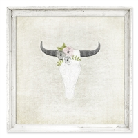Designer Framed Canvas Art, USA-Made: Floral Cow Skull | BSEID