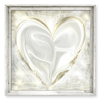 square framed distressed canvas art silver gold heart