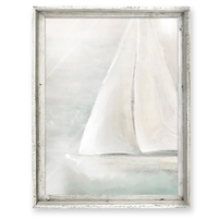 wall art recycled wood frame sailboat