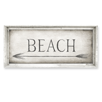 rectangle BEACH left pointing arrow framed canvas art