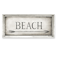 rectangle BEACH right pointing arrow framed canvas art