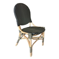 French bistro chair rounded back natural rattan frame black beige woven plastic wrapping Padma's Plantation
