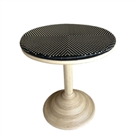 table round pedestal base natural rattan all-weather woven black beige top Padma's Plantation