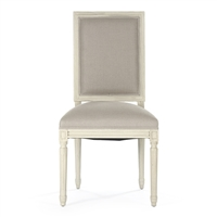 Linen Side Chair - Louis - Light Frame