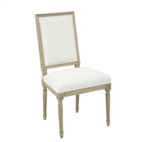 Off White Side Chair - Louis - Oak Frame