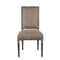 chair side dining square back limed gray charcoal oak carved wood copper linen
