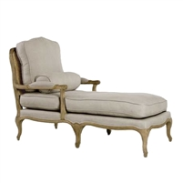 Linen Chaise Lounge - Cane + Oak