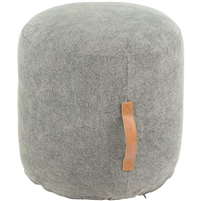 round gray pouf tan leather handle