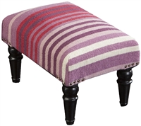 Plum Stripe Footstool Eggplant Red Purple White Wood Legs Wool