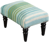 Aqua Green Stripe Footstool Wood Legs White Wool