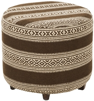 Round Kilim Pouf Brown White Feet