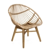 natural rattan accent chair teak legs