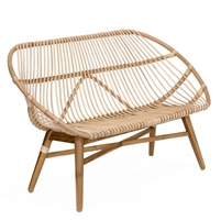 natural rattan sofa bench teak legs x-stretcher
