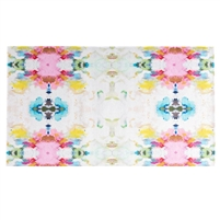 colorful lay flat floor mat pink green white