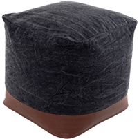black clay square floor pouf woven