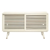slatted sliding doors cabinet buffet flayed legs off-white