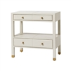 gray leather nightstand