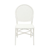 white faux rattan side chair