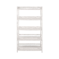 white washed woven rattan bookcase