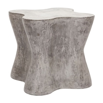 raw concrete tree trunk shaped side table