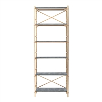 gold steel gray bookcase shelves