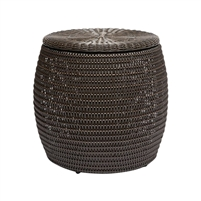 white rattan side table round